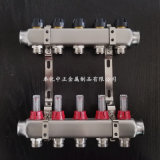 5路不锈钢智能流量计分集水器,地暖分水器