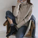 冬季新款韓版寬鬆保暖加厚套頭高領麻花毛衣女