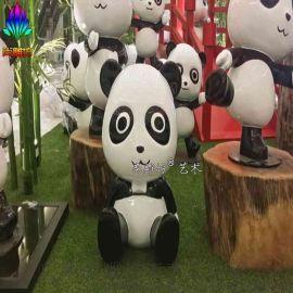 市政工程  景观小品创意摆件仿真动物雕塑熊猫玻璃钢雕塑