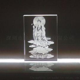 观音菩萨水晶内雕摆件,寺庙水晶纪念品,深圳定制
