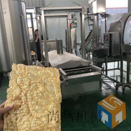 全自动豆皮油炸机 豆串油炸设备 豆皮油炸机生产线