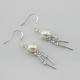 卓伟珍珠 珍珠耳环 二排钻珍珠 外贸 珍珠批发 140830