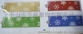2.22mm耶誕節雪花禮品包裝綵帶印花羅紋帶