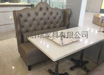 咖啡厅沙发 甜品店奶茶店餐饮烘焙西餐厅双人皮沙发卡座桌椅组合