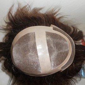 真发补发块手织顶心逼真人发发块自然透气遮白发大发量假发发块