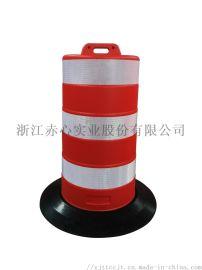 厂家直销1.1米反光防撞警示桶高品质橡胶黑色底座