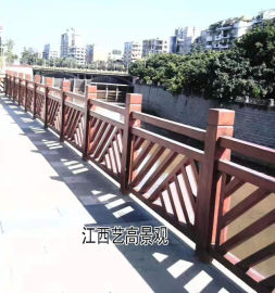 江西上饶仿木栏杆,九江仿木护栏制作,鹰潭仿木水泥围栏图片大全