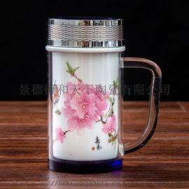 陶瓷保温杯水晶双层内胆防烫带柄水杯