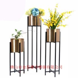 拉丝不锈钢隔离花箱供应园林艺术白色不锈钢花箱厂家
