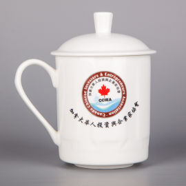 景德镇陶瓷带盖青花瓷茶杯中国风水杯会议办公室杯子