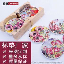 广告礼品促销logo印刷防滑隔热吸水陶瓷杯垫