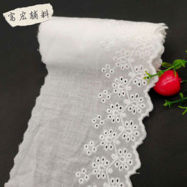 厂家供应棉布花边/窗帘装饰棉布刺绣花边