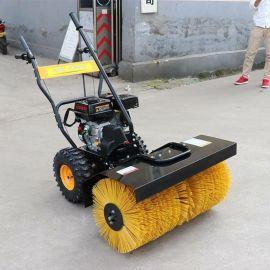 内蒙古地区沙滩扫雪车 13马力毛刷可倾斜清雪机