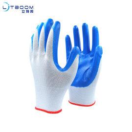13針滌綸耐油丁腈手套勞保耐磨手套帶膠藍色