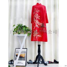 深圳品牌折扣女装奥妃雅原创刺绣中国复古风女装