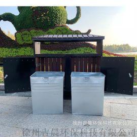 创意果壳箱仿古垃圾箱塑胶木镀锌板户外垃圾桶防腐景区垃圾桶分类