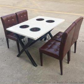 人造石火锅桌定制,大理石火锅餐桌,四人位火锅桌子