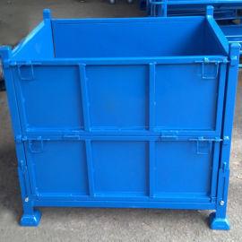 金属周转箱 铁皮仓储笼 折叠式半开门可堆垛钢制周转箱
