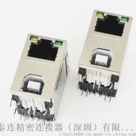 二合一 RJ45网口8P8C+B母2.0插座 带灯 带滤波不带滤波 90度插板