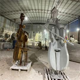 玻璃钢大提琴雕塑音乐会吉他手艺术雕塑造型