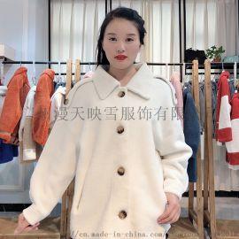 格颜19冬季皮毛颗粒绒大衣 品牌折扣女装货源
