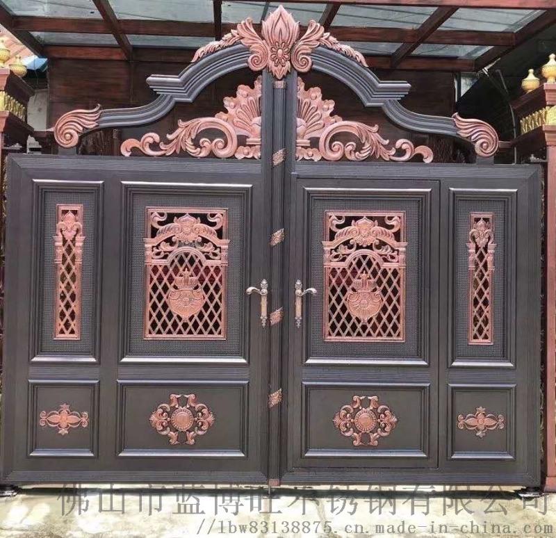 歐式鋁藝別墅庭院大門對開鐵門鑄鋁雙開門銅門不鏽鋼