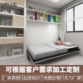 横翻带书桌隐形床折叠床壁床翻板床