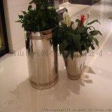 玫瑰金花器 鈦金花器 電鍍花盆+