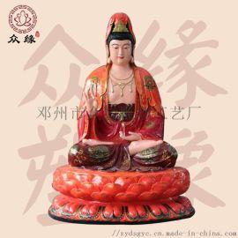 观自在菩萨 极彩踩莲观音菩萨佛像 树脂雕塑神像