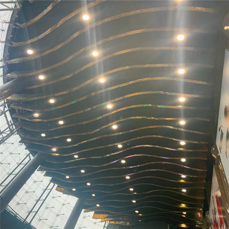 文化馆造型铝方通吊顶 体验馆金属木纹弧形铝方通