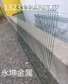 双边丝浸塑护栏永坤金属框架护栏双圈护栏网小区防护网