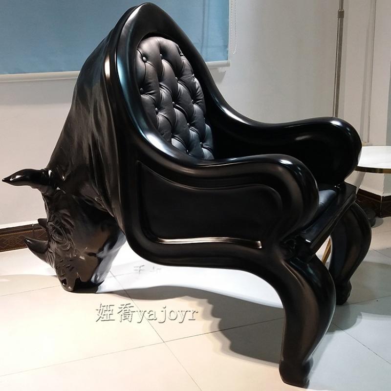 犀牛椅玻璃钢动物椅 休闲椅单人沙发