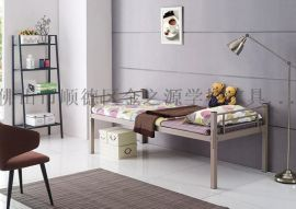佛山厂家直销简易单层铁床, 学生宿舍公寓单人床