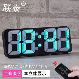3D立体闹钟 七彩变色闹钟 LED立体时钟
