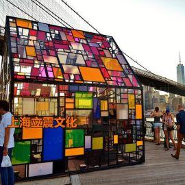 彩色房子七彩小屋绚丽小屋梦幻艺术彩色玻璃房子出租售