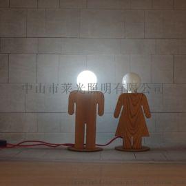 创意男女孩装饰台灯简约木艺台灯书桌照明小夜灯