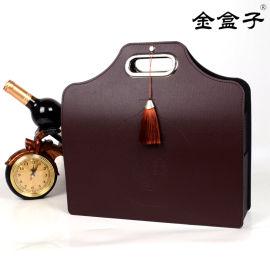 現貨可拆卸PU皮質紅酒手提袋 雙支手提禮盒