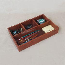 皮革文具收纳盒笔筒 皮质托盘 办公用品
