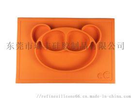 一体式硅胶餐盘 分格婴幼儿辅食餐盘 小熊  餐盘
