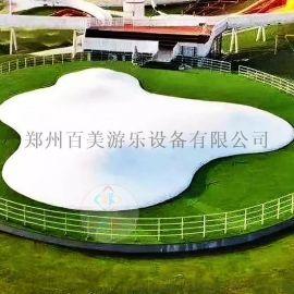 新疆生态园投放白色蹦蹦云充气蹦蹦床休闲解压好设备
