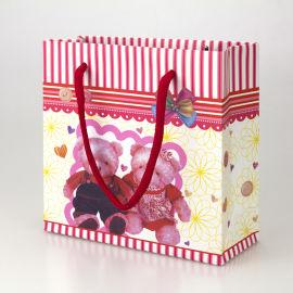 小号时尚熊夫妇礼品袋 粉色条纹纸质手提袋纸袋包装