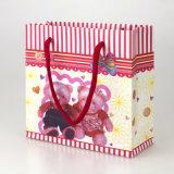 小號時尚熊夫婦禮品袋 粉色條紋紙質手提袋紙袋包裝