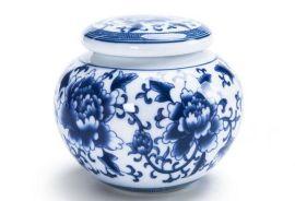 景德镇青花陶瓷罐绿茶半斤装茶叶包装礼盒定制logo