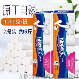 喜宝原生木浆纸批发1200克/提卷纸卫生纸厕纸