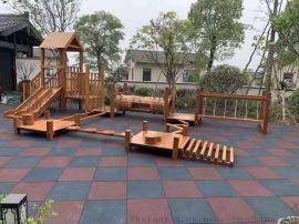 碳化积木 幼儿园大型滑梯组合 木质爬网组合
