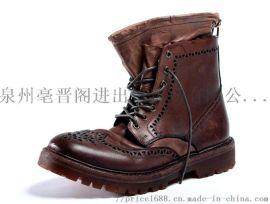 固特异手工鞋复古雕花马丁靴高帮机车真皮工装靴
