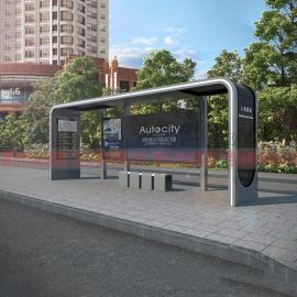 城市道路公交候车亭街具 城镇不锈钢候车亭站牌