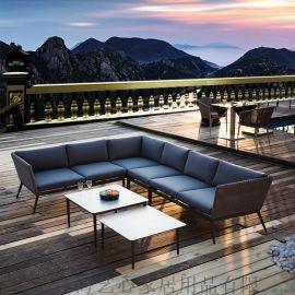 艺心 酒店度假村户外沙发组合 织带沙发 转角室外家具