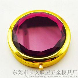 紫色水晶睫毛盒玫瑰金色电镀**假睫毛盒