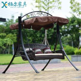 户外秋千吊椅吊篮双人三人阳台摇篮椅庭院花园休闲藤椅